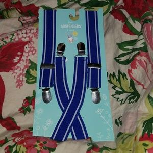 Other - Blue and white Striped kids suspenders Elastic